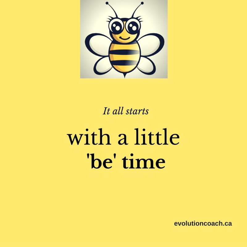 "Photo with yellow background. There is bumblebee at the top and there is a caption reading ""all it takes is a little 'be' time"". There is a link to a website at the bottom ""evolutioncoach.ca"""