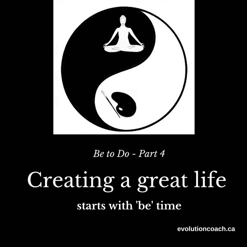 Black background with a round zen circle at the top in black and white. There is a meditating woman at the top and a paint palette with a brush at the bottom. Underneath is the caption