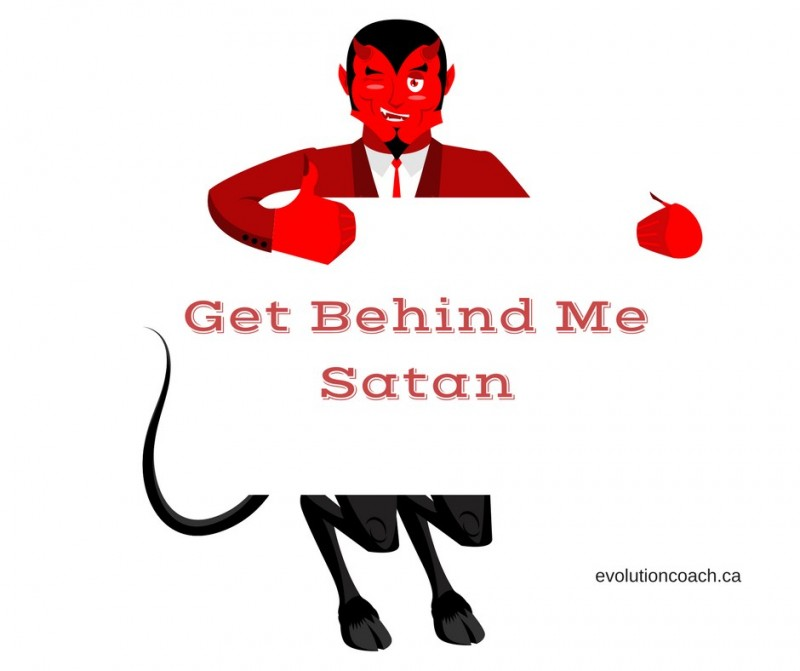 "A cartoon figure of the devil. He is holding a placard and on it is written ""Get Behind me Satan""."