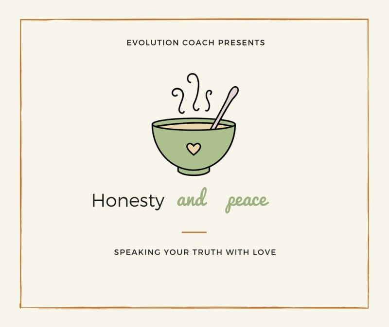 "Picture has a yellow background. There is a cup of steaming tea in the middle. The text above the cup reads ""Evolution Coach presents"" Underneath the cup there is the following text ""Honesty and Peace Speaking your truth with love."""